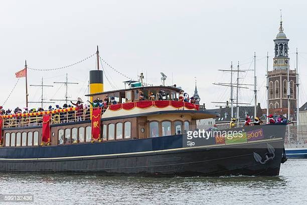 arrival of sinterklaas in the city of kampen - vintage steamship stock photos and pictures