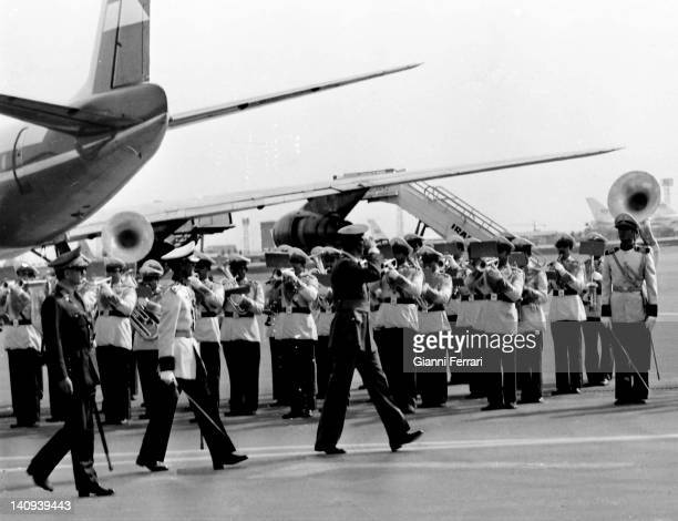 Arrival of Spanish King Juan Carlos at the airport received by the Shah Reza Pahlevi Teheran Iran