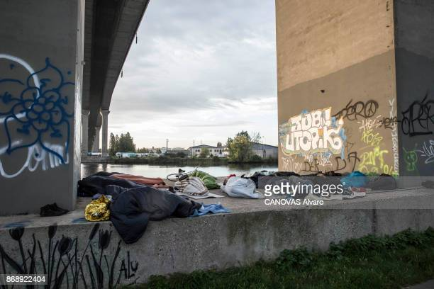 OUISTREHAM CALVADOS FRANCE SEPTEMBER 29 Arrival of Sudaneses migrants from Darfur to Ouistreham a smal seaside resort in Normandy France on September...
