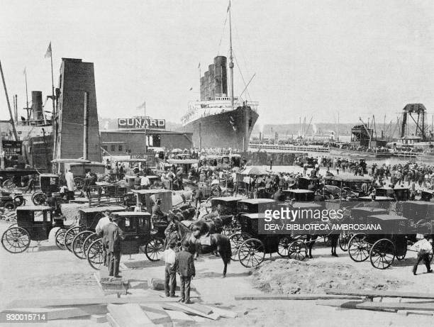Arrival of the British ocean liner RMS Lusitania in the docks of the Cunard Line in New York September 13 United States of America photograph by...