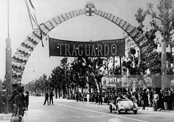 Arrival of the drivers of the car race Reggio CalabriaMilan in Milan About 1930 Photograph Ankunft der Fahrer des Autorennens Reggio CalabriaMailand...