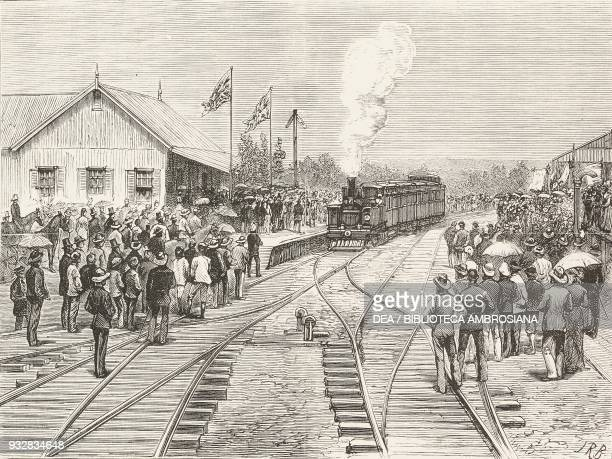 Arrival of the first train at Pietermaritzburg, opening of the Durban and Pietermaritzburg Railway, illustration from the magazine The Graphic,...