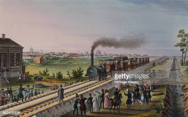 Arrival of the first train from St Petersburg to Tsarskoye Selo on 30 October 1837 Early 1840s Found in the collection of I Turgenev Memorial Museum...