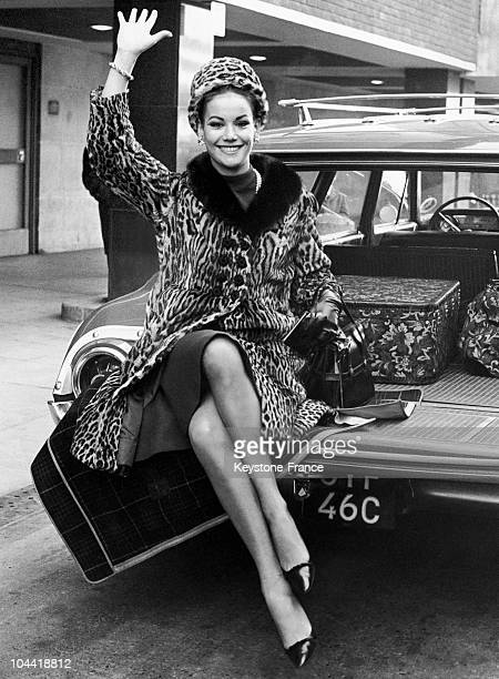 Arrival Of The French Actress Claudine Auger At London Airport In 1965