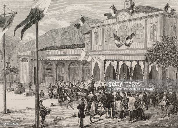 Arrival of the guests at Acqui station opening of AcquiSavona Railway Italy from a sketch by U Poggio illustration from Nuova illustrazione...