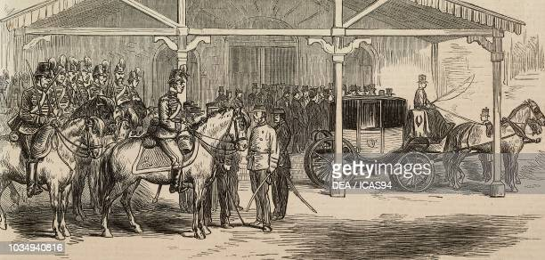 Arrival of the Japanese envoy Okubo at the railway station, Jeddo, peace between China and Japan, engraving from The Illustrated London News, No...