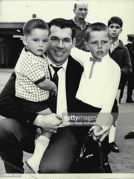 Arrival Of The Kangaroos -- Elton Rasmussen with his sons Brett, 2½, and Elton John,5. January 11, 1968. .