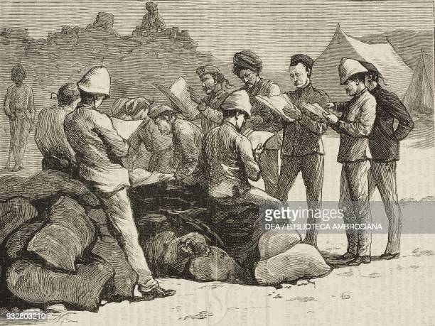 Arrival of the London papers camp at Lundi Khotal Second AngloAfghan war illustration from the magazine The Graphic volume XIX no 488 April 5 1879