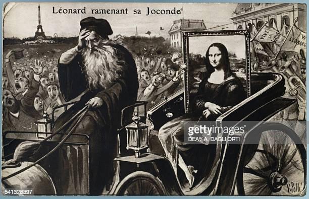Arrival of the Mona Lisa in Paris drawing by V Polli, postcard. 20th century. Vinci, Museo Ideale Leonardo Da Vinci