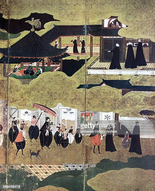 Arrival of the Portuguese in Japan Detail of Japanese screen Kano School