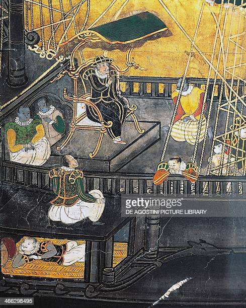 Arrival of the Portuguese in Japan screen Namban art 16th17th century Detail