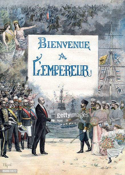 Arrival of the russian emperor in Cherbourg is an engraving by F Meaulle representing Felix Faure President of the french republic receiving Nicolas...