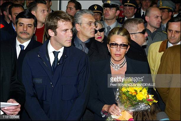 Arrival of the Savoy royal family in Naples Italy on March 15 2003 Marina and son Crown prince Emmanuel Philibert of Savoy