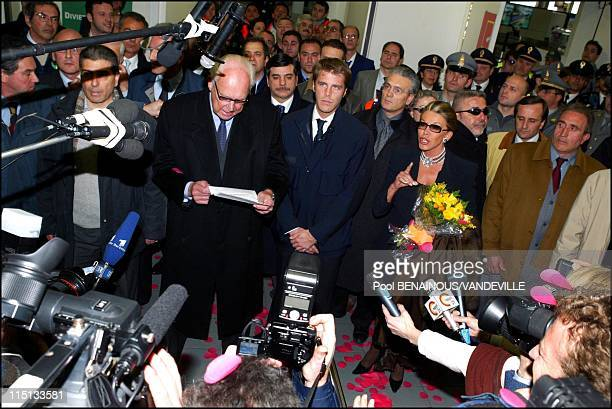 Arrival of the Savoy royal family in Naples, Italy on March 15, 2003 - Vittorio Emanuele of Savoy, the son of Italy's last king, returned to Italy...