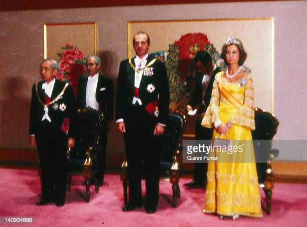 Arrival of the Spanish Kings Juan Carlos and Sofia to Tokyo received by Emperor Hirohito 27th October 1980 Tokyo Japan