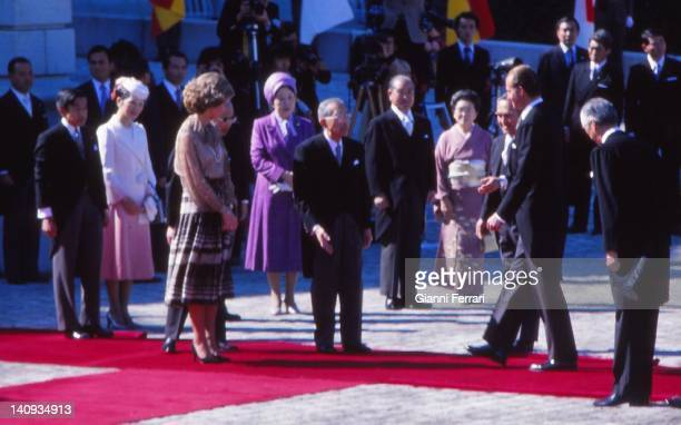 Arrival of the Spanish Kings Juan Carlos and Sofia to Tokyo received by Emperor Hirohito Crown Prince Akihito and Princess Michiko 27th October 1980...