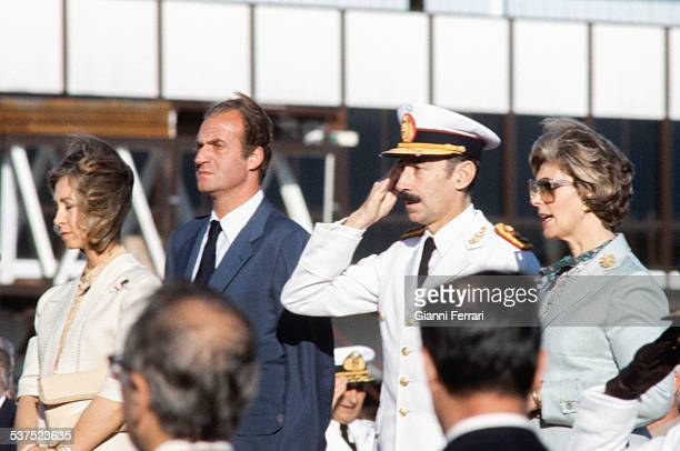 Arrival of the Spanish Kings of Spain Juan Carlos of Borbon and Sofia of Greece to Buenos Aires, received by the Argentine President Jorge Rafael...