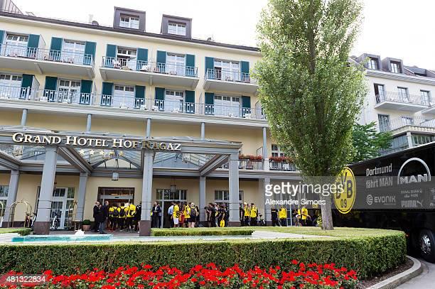 Arrival of the team of Borussia Dortmund in Bad Ragaz at the team hotel GRAND RESORT BAD RAGAZ on July 19, 2015 in Bad Ragaz, Switzerland.