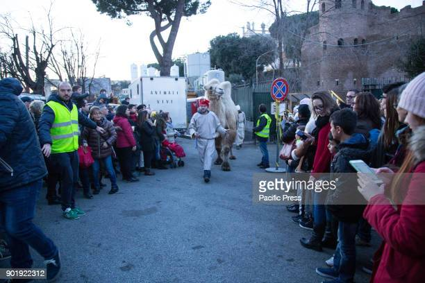 Arrival of the three wise men on camels to complete the living nativity scene organized in Rome at Piazza San Giovanni under Porta Asinaria to raise...
