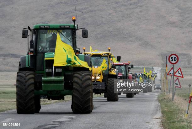 Arrival of tractors for sowing of lentils as a sign of recovery of areas affected by the earthquake of August 24 on April 03 2017 in Castelluccio...