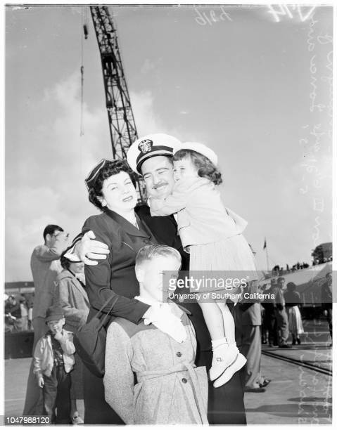 Arrival of USS 'Juneau' May 1 1951 Mrs Lloyd CantrellMiss Penille MaherJoseph Blythe Lieutenant J R CollierWendy CollierMrs Mary Ann CollierRear...