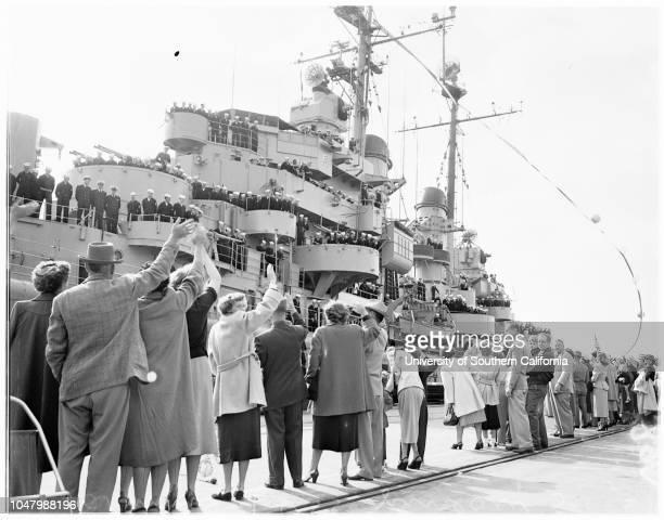 Arrival of USS 'Juneau' May 1 1951 Mrs Lloyd CantrellMiss Penille MaherJoseph Blythe Lieutenant J R CollierWendy CollierMrs Mary Ann CollierRear...