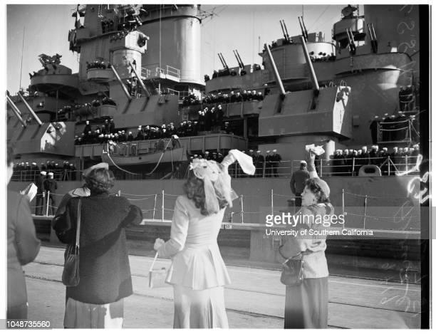 Arrival of USS New Jersey at Long Beach from Korea 7 December 1951 Mrs Virginia SuttonMrs R E AcreaMelinda Beaver 8 1/2Mrs EE BeaverEdward E Veit...