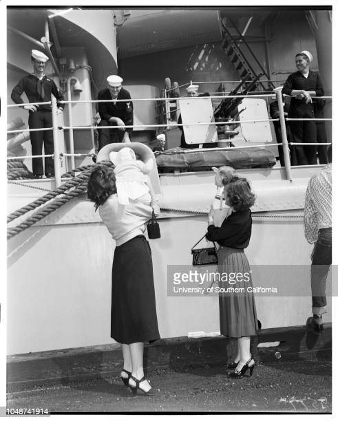 Arrival of USS Rochester cruiser San Pedro 7 May 1952 Lieutenant Thomas Graham United States NavyMarilyn GrahamMrs Frank Lorraine PriceKathleen Price...