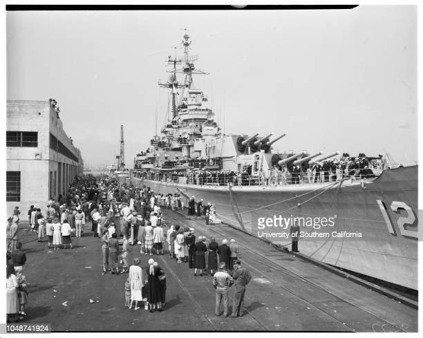 Arrival of USS Rochester cruiser San Pedro 7 May 1952 Lieutenant Thomas Graham United States NavyMarilyn GrahamMrs Frank Lorraine PriceKathleen Price...
