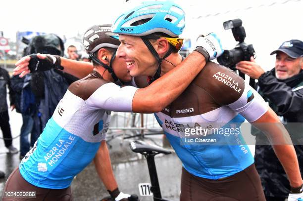 Arrival / Oliver Naesen of Belgium and Team AG2R La Mondiale / Clement Venturini of France and Team AG2R La Mondiale / Celebration / during the 82nd...