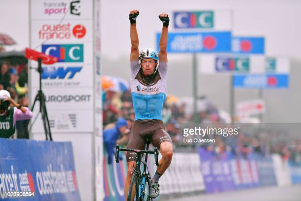 Arrival / Oliver Naesen of Belgium and Team AG2R La Mondiale / Celebration / during the 82nd Bretagne Classic OuestFrance 2018 a 2569km race from...