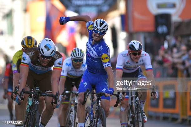 Arrival / Oliver Naesen of Belgium and Team AG2R La Mondiale / Julian Alaphilippe of France and Team Deceuninck Quick Step Celebration / Alejandro...