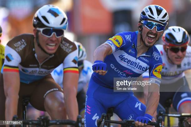 Arrival / Oliver Naesen of Belgium and Team AG2R La Mondiale / Julian Alaphilippe of France and Team Deceuninck Quick Step Celebration / Matej...