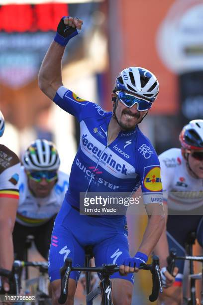 Arrival / Oliver Naesen of Belgium and Team AG2R La Mondiale / Julian Alaphilippe of France and Team Deceuninck Quick Step Celebration / during the...