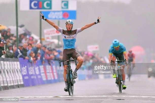 Arrival / Oliver Naesen of Belgium and Team AG2R La Mondiale / Celebration / Michael Valgren Andersen of Denmark and Team Astana Pro Team / during...