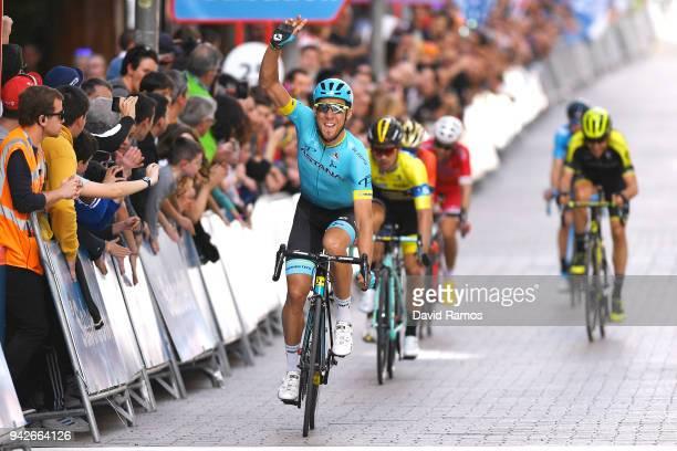 Arrival / Omar Fraile Matarranza of Spain and Astana Pro Team / Celebration / Primoz Roglic of Slovenia and Team LottoNLJumbo Yellow Leader Jersey /...