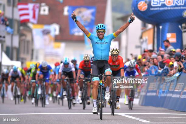 Arrival / Omar Fraile Matarranza of Spain and Astana Pro Team / Celebration / Sonny Colbrelli of Italy and Team BahrainMerida / during the 72nd Tour...