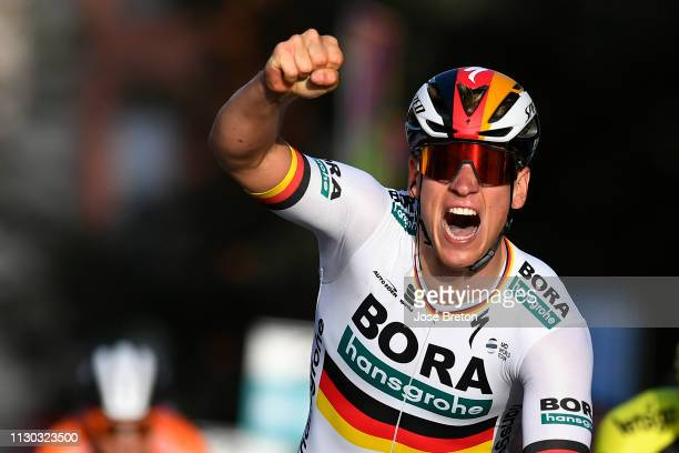 Arrival / Pascal Ackermann of Germany and Team Bora - Hansgrohe / Celebration / during the 32nd Clásica de Almeria 2019, a 192,5km race from Almería...