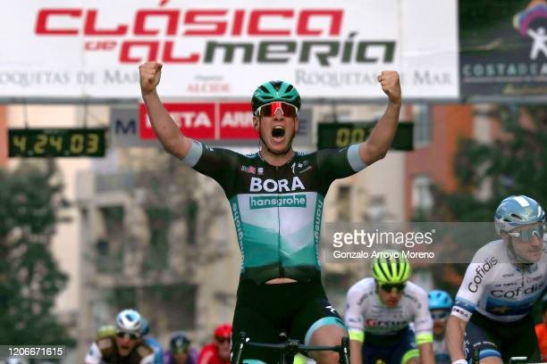 Arrival / Pascal Ackermann of Germany and Team Bora - Hansgrohe / Celebration / during the 33rd Clásica de Almería 2020 a 187,6km stage from Roquetas...