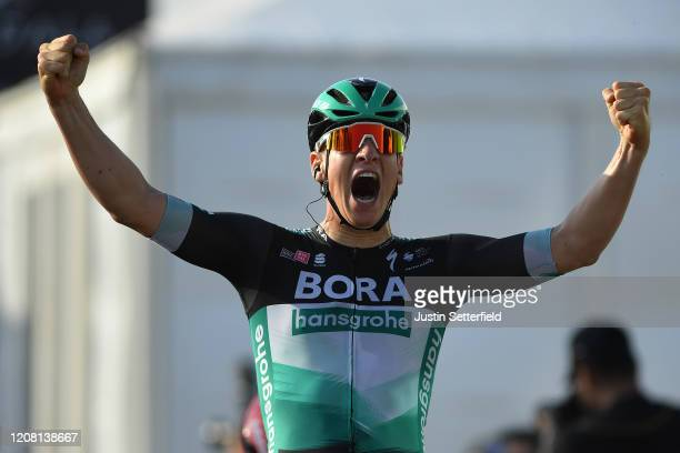 Arrival / Pascal Ackermann of Germany and Team Bora - Hansgrohe / Celebration / during the 6th UAE Tour 2020, Stage 1 a 148km stage from Dubai - The...