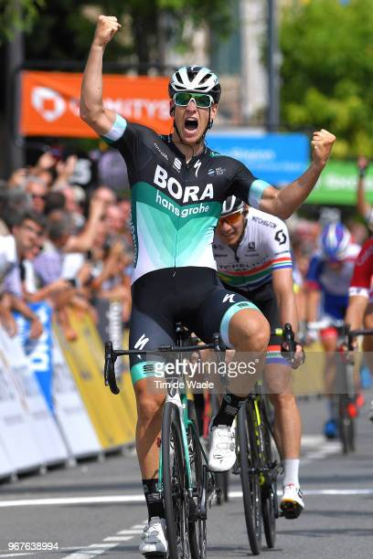 Arrival / Pascal Ackermann of Germany and Team Bora Hansgrohe / Celebration / during the 70th Criterium du Dauphine 2018 Stage 2 a 181km stage from...