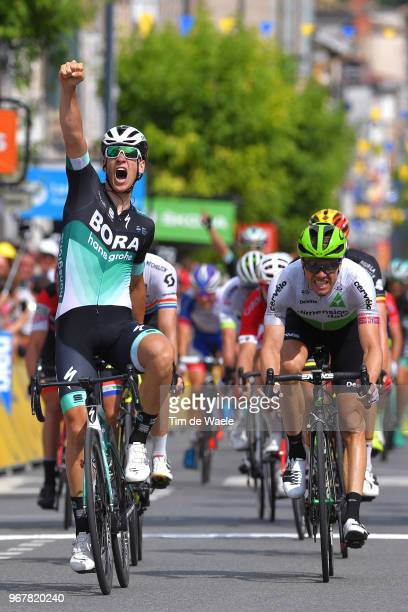 Arrival / Pascal Ackermann of Germany and Team Bora - Hansgrohe / Celebration / Edvald Boasson Hagen of Norway and Team Dimension Data / during the...