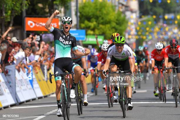 Arrival / Pascal Ackermann of Germany and Team Bora Hansgrohe / Celebration / Edvald Boasson Hagen of Norway and Team Dimension Data / Daryl Impey of...