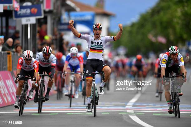 Arrival / Pascal Ackermann of Germany and Team Bora Hansgrohe / Celebration / Elia Viviani of Italy and Team Deceuninck QuickStep / Caleb Ewan of...