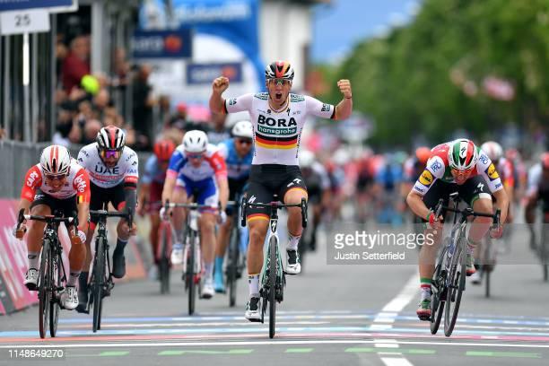 Arrival / Pascal Ackermann of Germany and Team Bora Hansgrohe / Celebration / Elia Viviani of Italy and Team Deceuninck QuickStep / Caleb Ewan of...