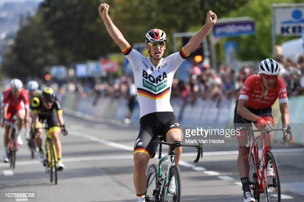 Arrival / Pascal Ackermann of Germany and Team BORA - Hansgrohe / Celebration / Jasper Stuyven of Belgium and Team Trek- Segafredo / during the 6th...