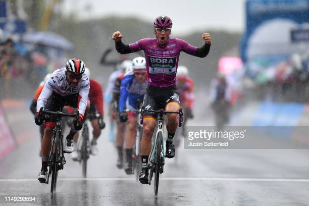 Arrival / Pascal Ackermann of Germany and Team Bora - Hansgrohe Purple Points Jersey / Celebration / Fernando Gaviria Rendon of Colombia and UAE -...