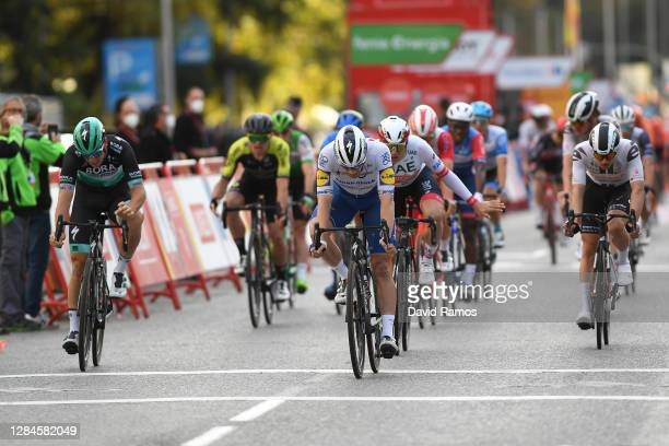 Arrival / Pascal Ackermann of Germany and Team BORA - Hansgrohe / Sam Bennett of Ireland and Team Deceuninck - Quick-Step / Jasper Philipsen of...