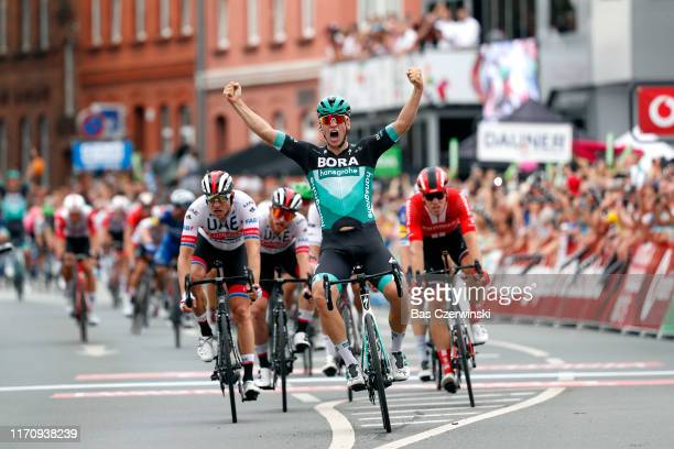 Arrival / Pascal Ackermann of Germany and Team Bora-Hansgrohe / Celebration / Alexander Kristoff of Norway and UAE - Team Emirates / Simone Consonni...