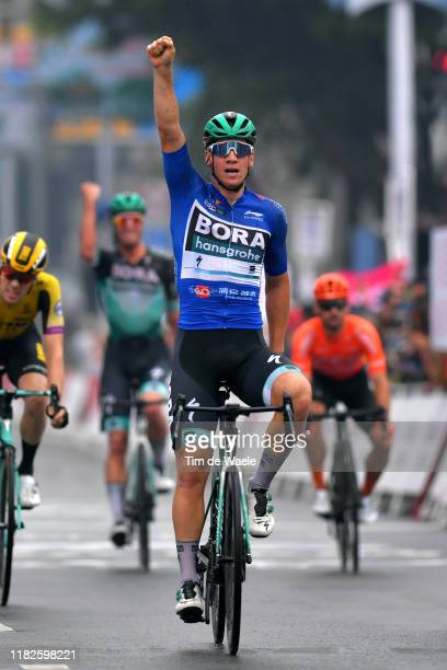 Arrival / Pascal Ackermann of Germany and Team Bora-Hansgrohe Blue Sprint Jersey / Celebration /Timo Roosen of The Netherlands and Team Jumbo - Visma...